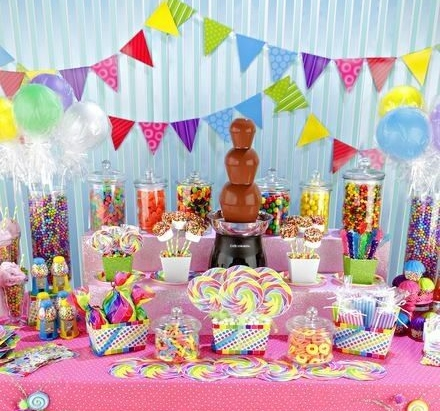 ... chocolate fountain set up with lots of treats for dipping. candy bar  sc 1 st  my confetti crush & kid birthday party ideas | my confetti crush